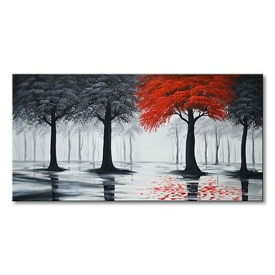 Hand Painted Landscape Oil Painting Wall Art Forest on Canvas Modern Home Decor