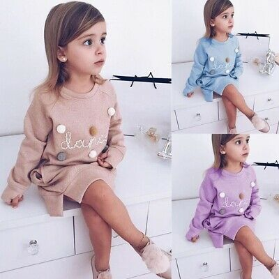 UK Toddler Baby Girls Kid Winter Princess Christmas Dress Party Dresses Outfits