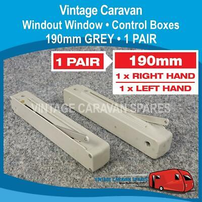 Caravan WIND OUT WINDOW • CONTROL BOX • 190mm ( 1 PAIR  GREY ) WR0149