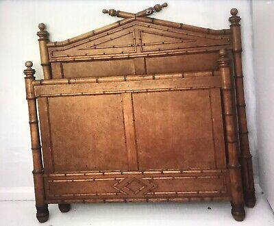 Antique French Faux Bamboo Large Single 3/4 Bed Birdseye Maple. Art Nouveau