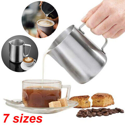 Stainless Steel Milk Frothing Jug Frother Coffee Latte Metal Container Pitcher
