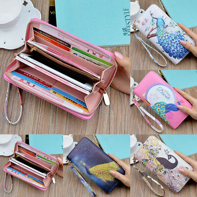 Peacock Lady Long Travel Wallet Zip Purse Card Phone Holder Case Clutch Handbag