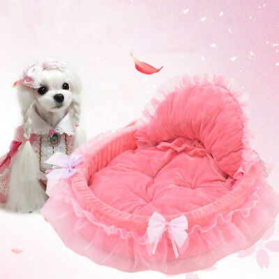 Deluxe Soft Pet Bed Princess Pink Cute Sofas Dog Warm Washable Cushion Mat House