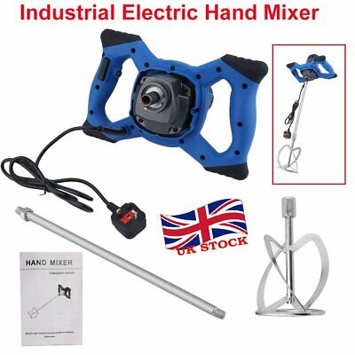 220V Industrial Electric Plaster Paint Cement Mortar Paddle Mixer 6 Speed Blue Y