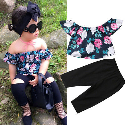 AU STOCK Toddler Kids Baby Girl Floral Outfits Clothes T-shirt Tops+Pants 2PCS