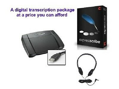 Express Scribe Pro digital transcription package including headphones/footpedal