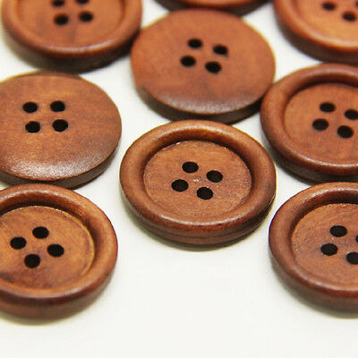 50pcs Wooden Dark Brown Round Sewing 4 Hole Buttons STYLE