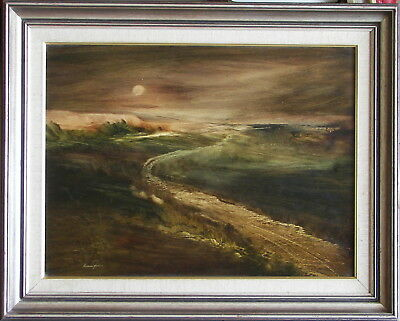 Norman Robins (1914-88) Original Oil Painting Moonrise on the Winding Plain