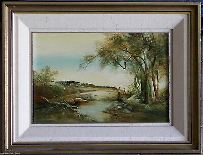 Norman Robins (1914-88) Exquisite Original Oil Painting Figures by the River