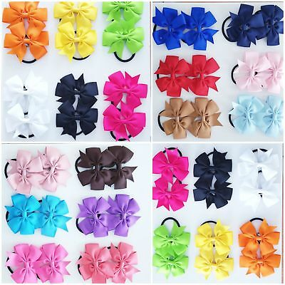 2pcs Girl Hair Bow Bobbles kid Baby Ribbon Pony Elastic band 3'' Hairband School