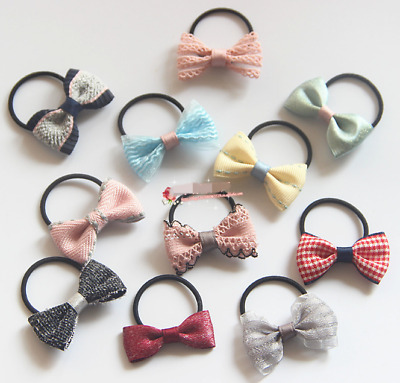 10/20X Baby Girl Grosgrain Ribbon Hair Bow Bobble Elastic Band School Party Gift
