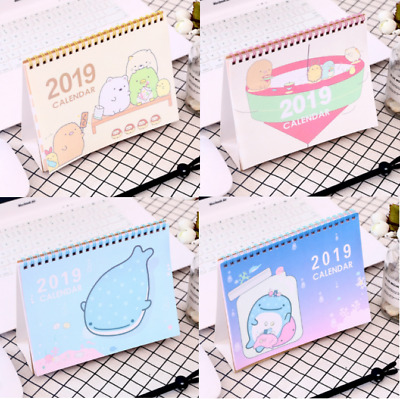 New 2019 Cartoon Desktop Flip Calendar Stand Up Office Room Desk Table Planner
