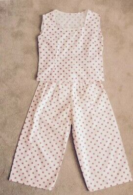 ORIGINAL VINTAGE HOLIDAY TWO PIECE COTTON POLKA DOTS SIZE 10 12 BUST 35 Ins.