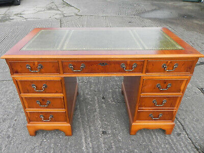 Yew Wood Twin Pedestal Desk with Green Tooled Leather Inset Top