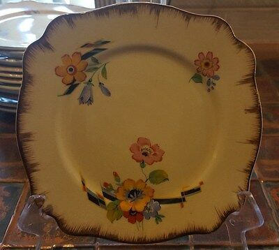 VINTAGE ROYAL STAFFORDSHIRE POTTERY SMALL SQUARE PLATE,HONEYGLAZE, 14cm