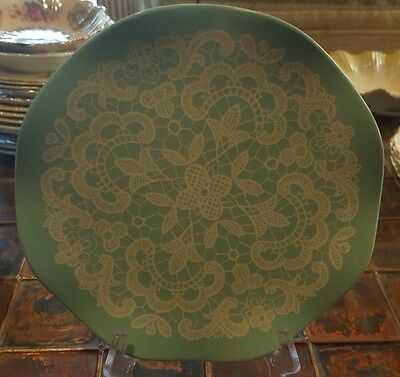 VINTAGE HOLLYWOOD GREEN & WHITE MELAMINE PLATE, 8cm, MADE IN MELMAC AUSTRALIA