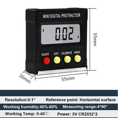 ~Cube Inclinometer Angle Gauge Meter Digital LCD Protractor Electronic Level Box