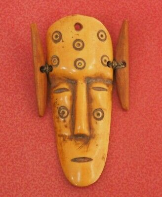 Really Unusual African Tribal Art Congo Carved Pig Bone Face Mask Lega Amulet Nr