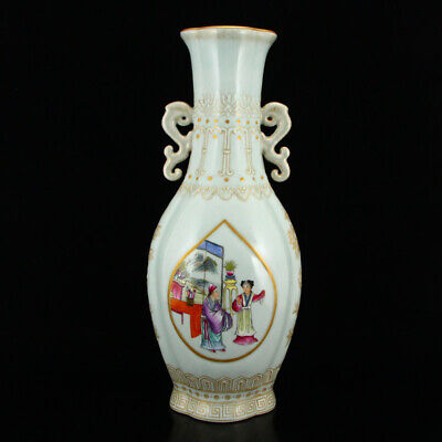 "14"" China old Porcelain famille rose painting character double ear vase"