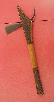 Good Small South African Zulu Shona Zambia Wooden Dance Axe W Carved Decoration