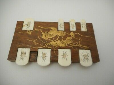 Japanese SHIBAYAMA Meiji Antique Wooden Whist/ Bridge Marker with Insect Tabs