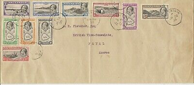 Ascension 1934 Pictorials To 5/- Sg21/30 On Cvr To British Vice Consulate Azores