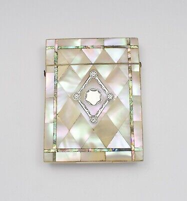 Victorian Mother Of Pearl, Abalone & Silver Card Case