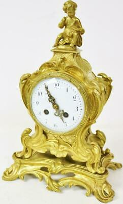 Antique French Bronze Ormolu Mantle Clock 8Day Rococo Bell Striking Mantel Clock