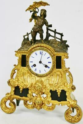 Antique French Empire 8 Day Bronze & Black Marble Classic Figural Mantel Clock