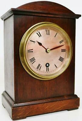 Beautiful Antique German 8 Day Mahogany Mantel Clock Silver Dial Mantle Clock
