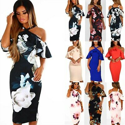 UK Women Off Shoulder Floral Bodycon Party Ladies Summer Holiday Midi Dress 6-20