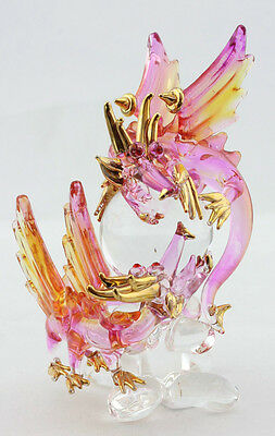 Blown Glass Dragons & Magic Ball Figurine