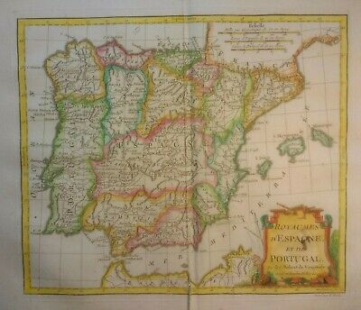 Antique Map of Spain and Portugal by Robert De Vaugondy 1795