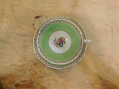 Paragon Cup & Saucer Green White Gold Trim Flowers 1923-33