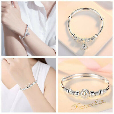 UK 925 Silver Bangle Bracelet Charm Chain Ladies Womens Girl Jewellery Gift Best