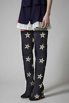 Iconic RARE Meadham Kirchhoff Limited Edt Rainbow Star Leather Thigh Knee Boot