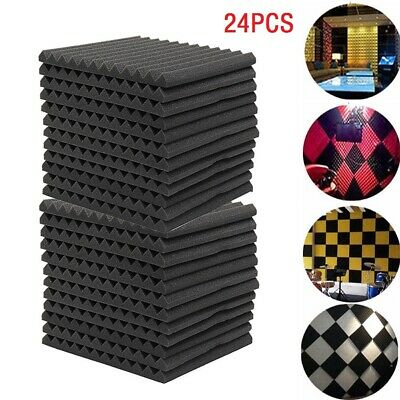 24pc Soundproofing Acoustic Foam Tiles Noise Sound Absorbing 30X30X2.5CM