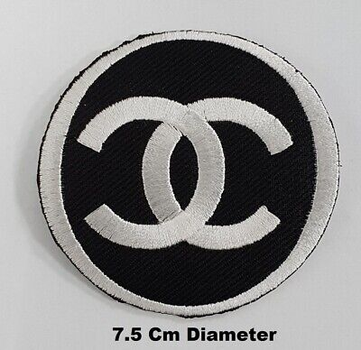 Brand CHANEL Black & white Embroidered iron/ Sew-On Patch Jacket Hat Jeans Badge
