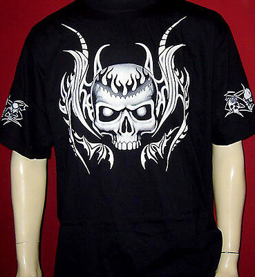 Tattoo Motiv Glow In The Dark Skull T Shirt M L Xl Gothic Biker