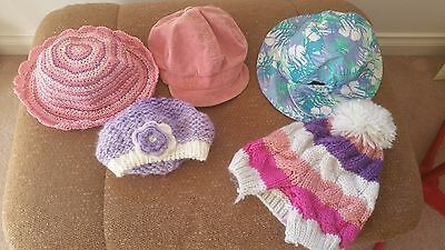 5 X Size 3 - Size 6 Girls Hats -  Summer Hats And Winter Hats