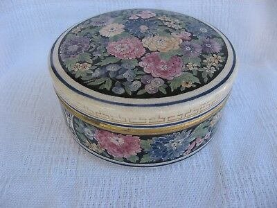 American Satsuma Art Pottery Round Box-Millefiori Enamels/Black Ground-Early 20C