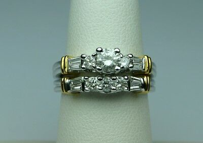 Diamond eng ring set 1cttw 1/3ct+ center 14kt w.gold No reserve size 7.25 BEAUTY