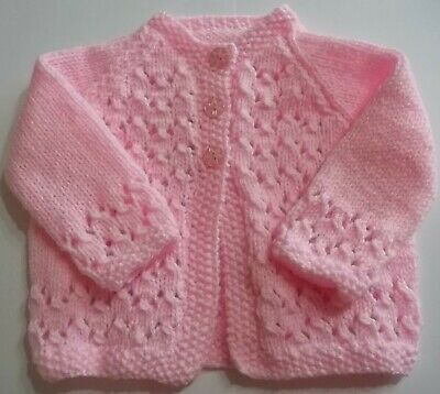 Hand Knit Babies Patterned Edge Pink Cardigan Size 0/3 Months