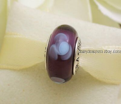 423d38a54 Authentic PANDORA Silver PURPLE FLOWERS FOR YOU Murano Charm 790643 RETIRED  A