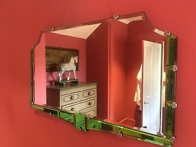 A fabulous Green Art Deco Mirror with beveled edges
