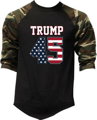 Men's Trump 45 Camo Baseball Raglan T Shirt President Donald America Great USA