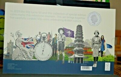 Celebrating 50 Years of the 50p 2019 Silver Proof Set Kew Gardens #478/1969