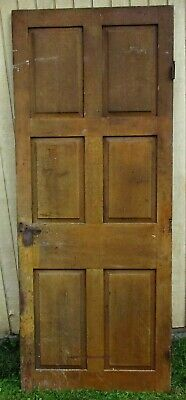 Antique Victorian Architectural Salvage 6 Panel House Home Grain Painted Door