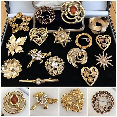 Job Lot Vintage Gold Tone Costume Jewellery Brooches Made in England x16