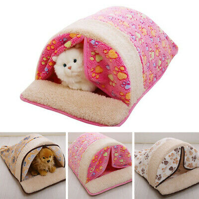 Pet Cat Dog Nest Bed Puppy Soft Warm Cave House Sleeping Bag Mat Pad M L